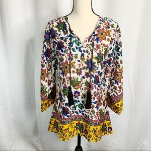 Kyla Seo Anthropologie boho tunic silk blouse S